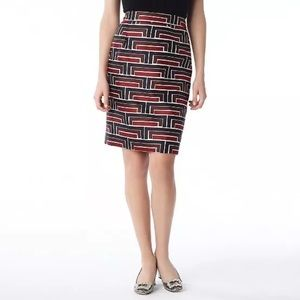 Kate Spade // geometric silk pencil skirt